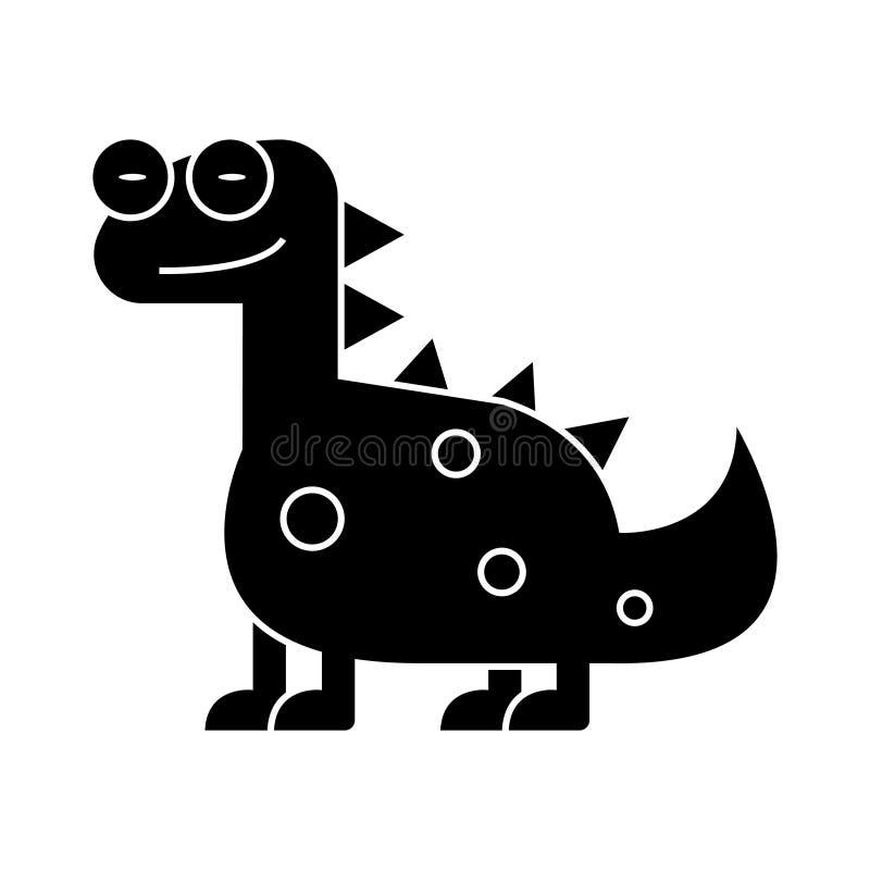 Dino - значок динозавра милый, иллюстрация вектора, черный знак на изолированной предпосылке иллюстрация вектора