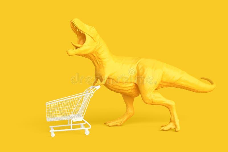 Dino с корзиной РОЗНИЧНАЯ КОНЦЕПЦИЯ иллюстрация 3d Contai стоковые фото