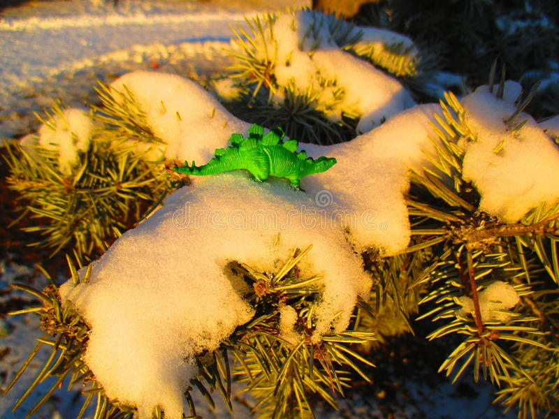 Dino auf einem schneebedeckten Tannenbaum des Winters stockfotos
