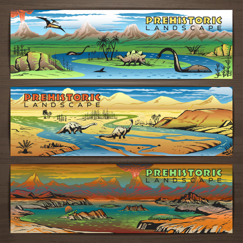 Dino banners 1 color vector illustration