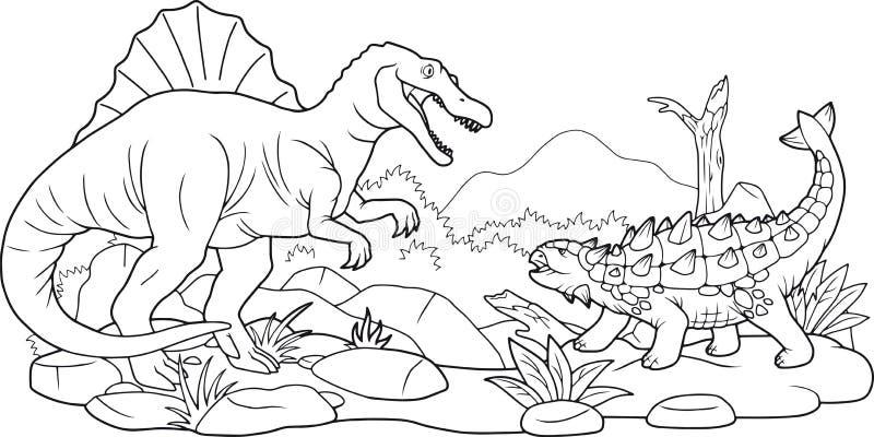Dino bitwa, kolorystyki książka royalty ilustracja