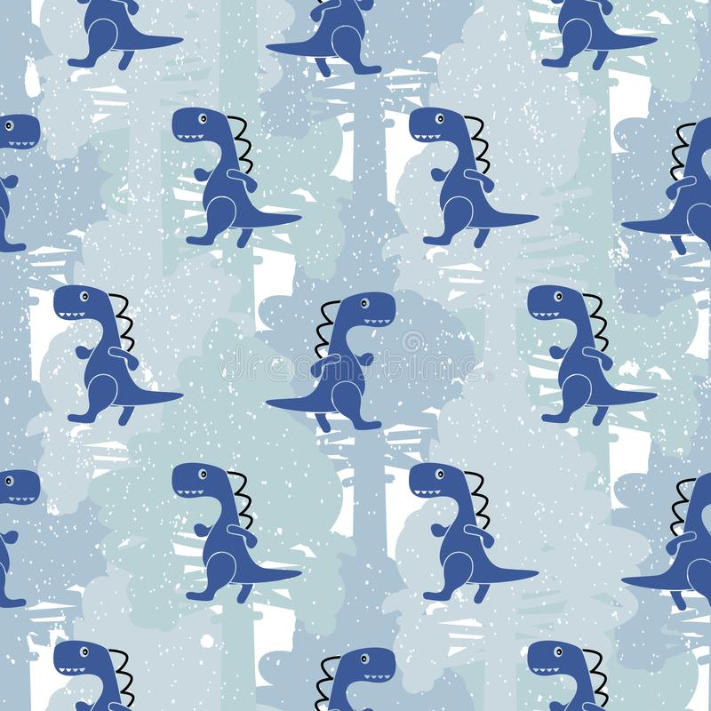 Dino blue color boy seamless vector pattern. stock illustration