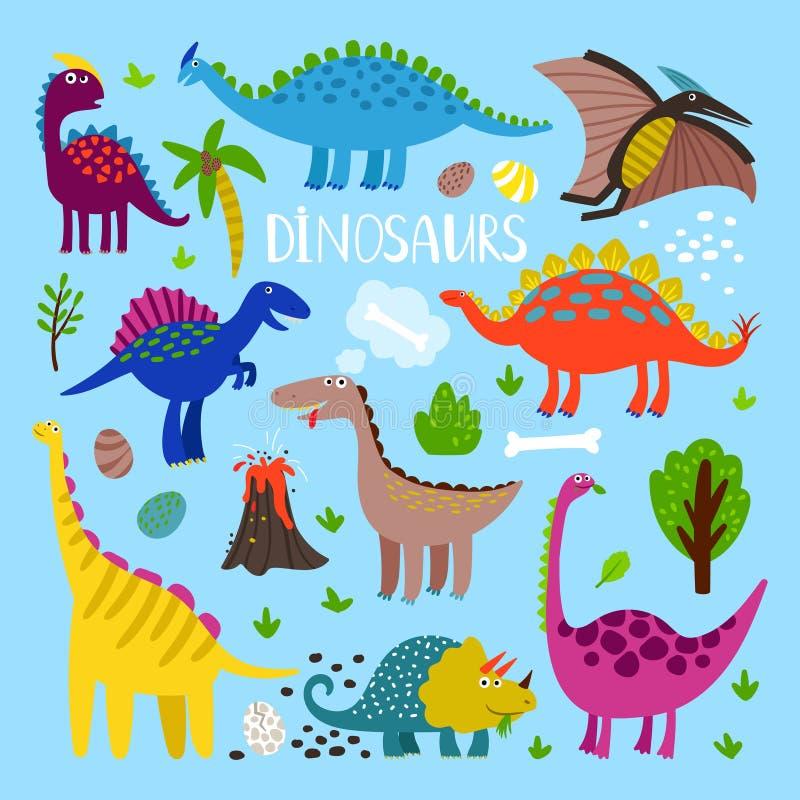 Dino cartoon set vector illustration