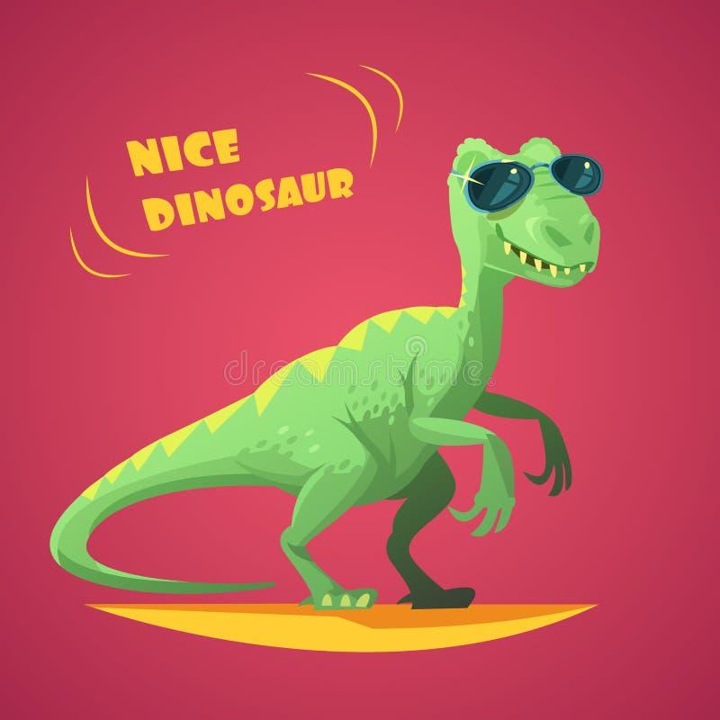Dino Cartoon Toy Red Background affisch royaltyfri illustrationer