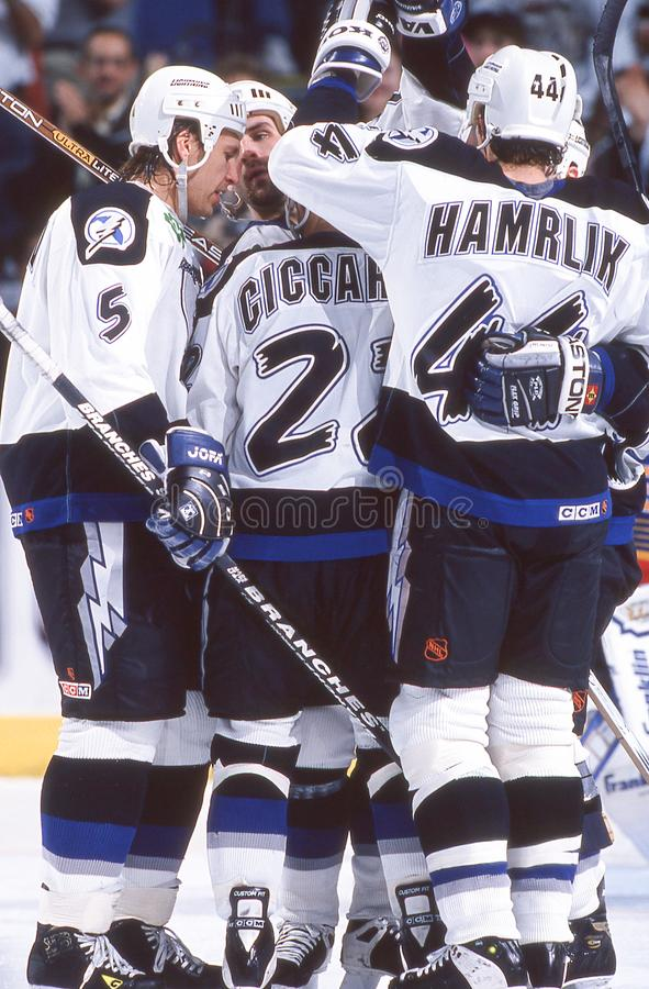 Dino Ciccarelli and Roman Hamrlik, Tampa Bay Lightning. Image taken from color slide royalty free stock photos