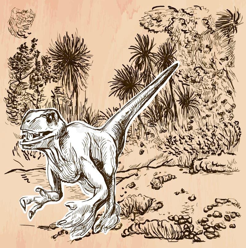 Dino dinosaurier - en hand dragen vektor Linje konst royaltyfri illustrationer