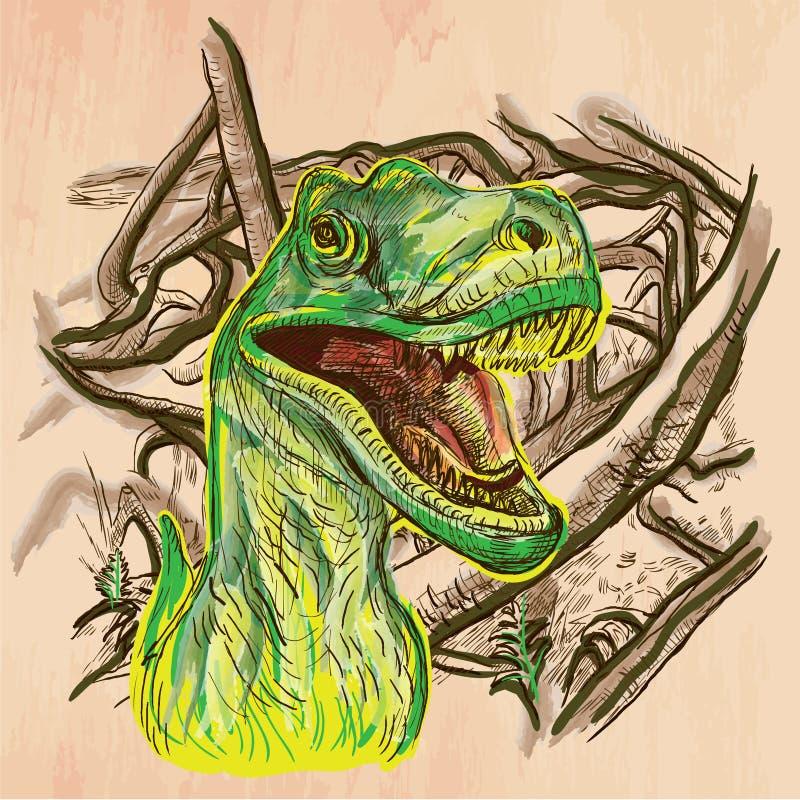 Dino dinosaurier - en hand dragen vektor Linje konst vektor illustrationer