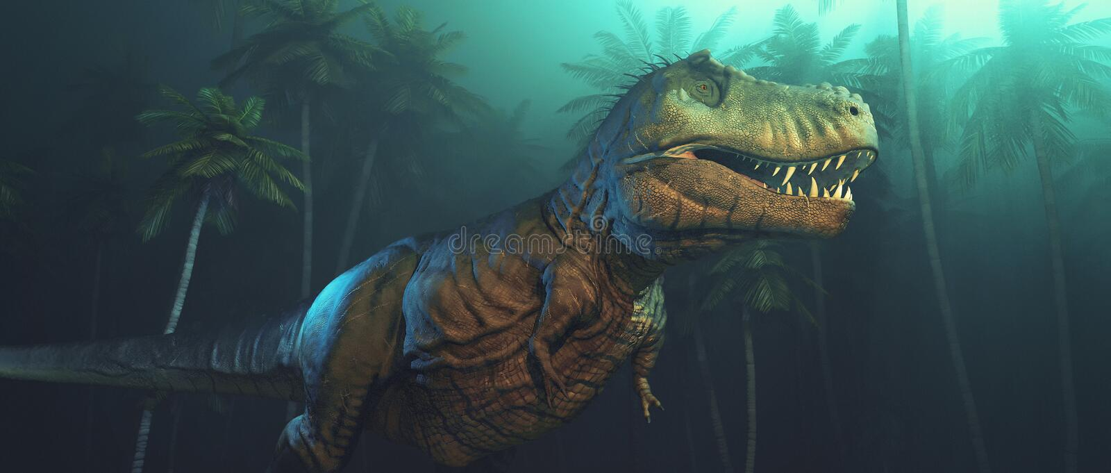 Dino dinosaurs with large fangs. In a forest. This is a 3d render illustration royalty free illustration