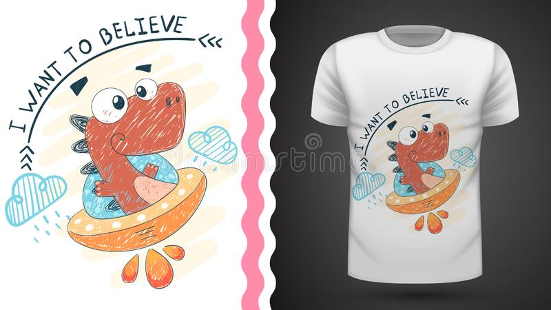 Dino e UFO - ideia para o t-shirt da cópia ilustração royalty free