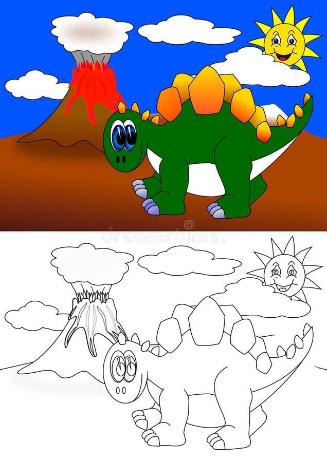 Dino färgläggningbok vektor illustrationer