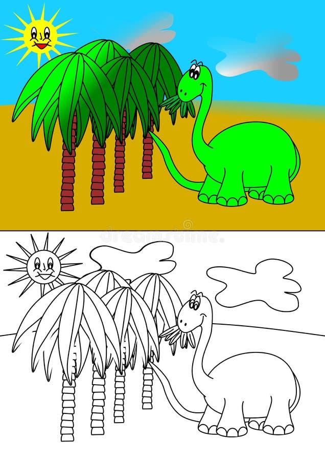 Dino färgläggningbok stock illustrationer