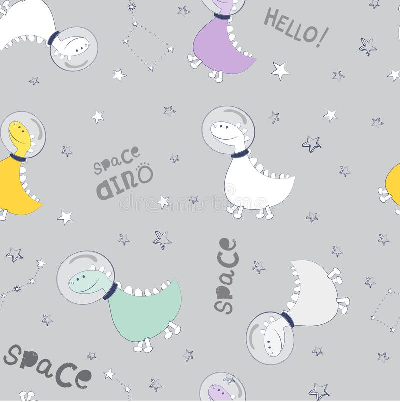 Dino fly into space and look at the constellations. Space texture of pastel colors for children`s fash. Dinosaurs seamless pattern. Dino fly into space and look vector illustration