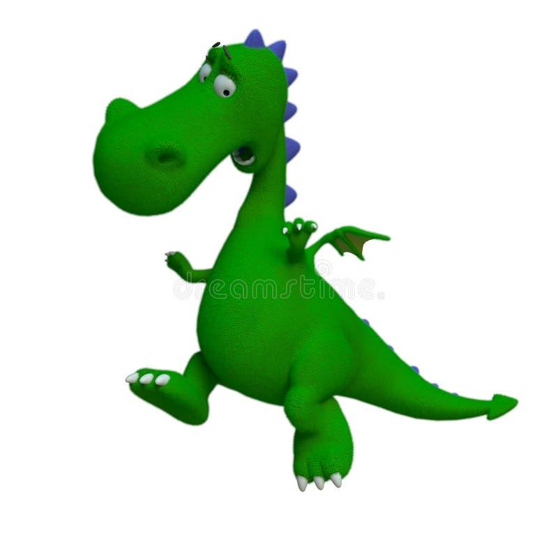 Dino il drago verde in un fondo bianco royalty illustrazione gratis