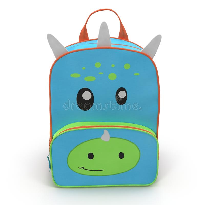 Dino Kids Back Pack på en vit Bekläda beskådar illustration 3d stock illustrationer