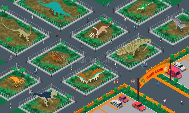 Dino Land Isometric Composition vector illustration