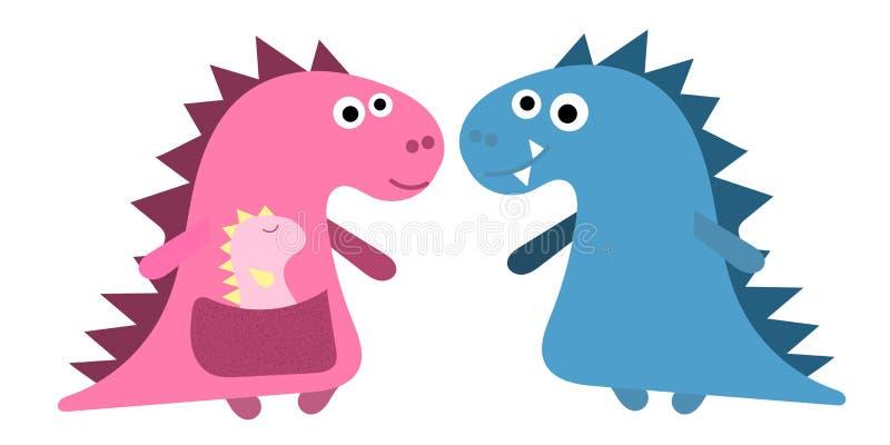 Dino liebevolle Eltern mit zwei Kinderdem spielen Für die Plakate der Kinder Grußkarten am Tag der Mutter oder stock abbildung