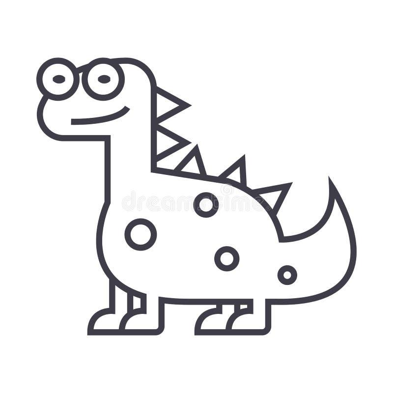 Dino lindo, línea icono, muestra, ejemplo del vector del dinosaurio en el fondo, movimientos editable ilustración del vector