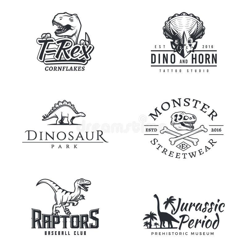 Dino loga set Dinosaura logotyp Ptaka drapieżnego sporta maskotki projekt Wektorowy T-rex etykietki szablon Jurajskiego okresu il royalty ilustracja
