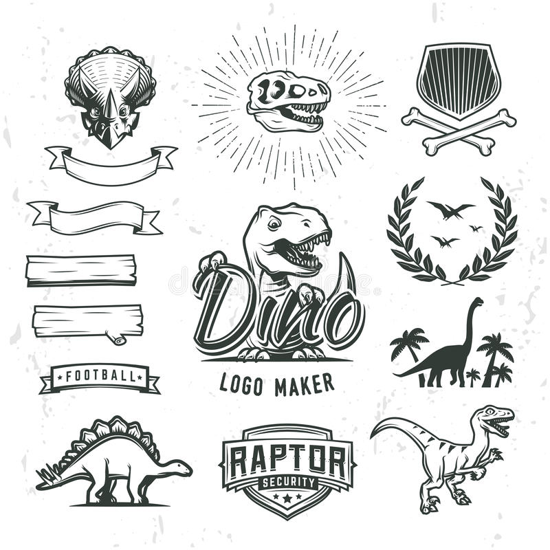 Free Dino Logo Maker Set. Dinosaur Logotype Creator. Vector T-rex Banner Template. Royalty Free Stock Photo - 72697235