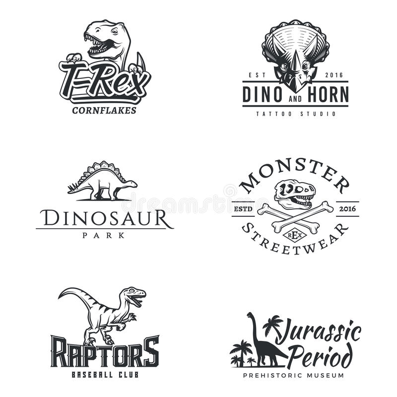 dino logo set dinosaur logotype raptor sport mascot design vector