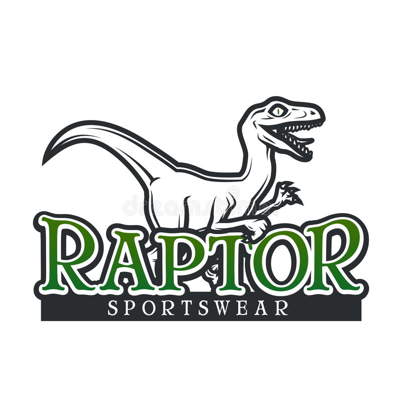 Dino Logo vector template. Raptor sport mascot logotype design. Vintage High School sport badge. Sportswear shop t-shirt stock illustration