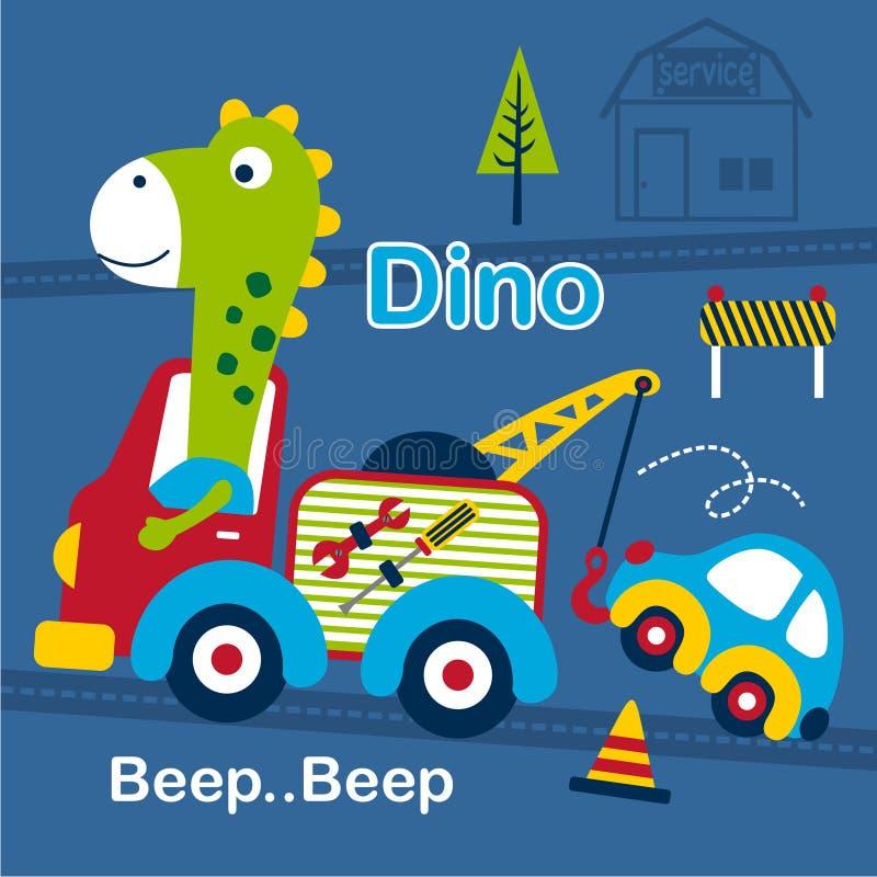Dino och för bärgningsbil rolig tecknad film, vektorillustration stock illustrationer