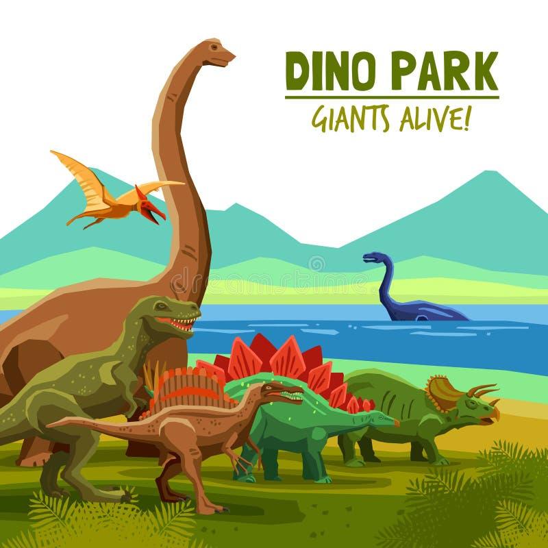 Dino Park Poster stock illustration