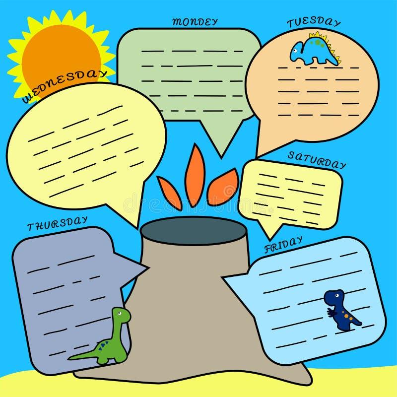 Dino Planner Impresión para programar lecciones, la lista de lío para los alumnos y a preescolares Dinosaurios y una isla con a libre illustration