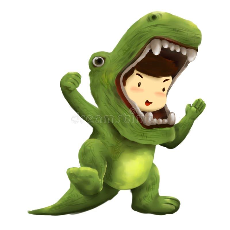 Dino pojke, ungeklänningar i dinosauriedräktdans med glädje royaltyfri illustrationer