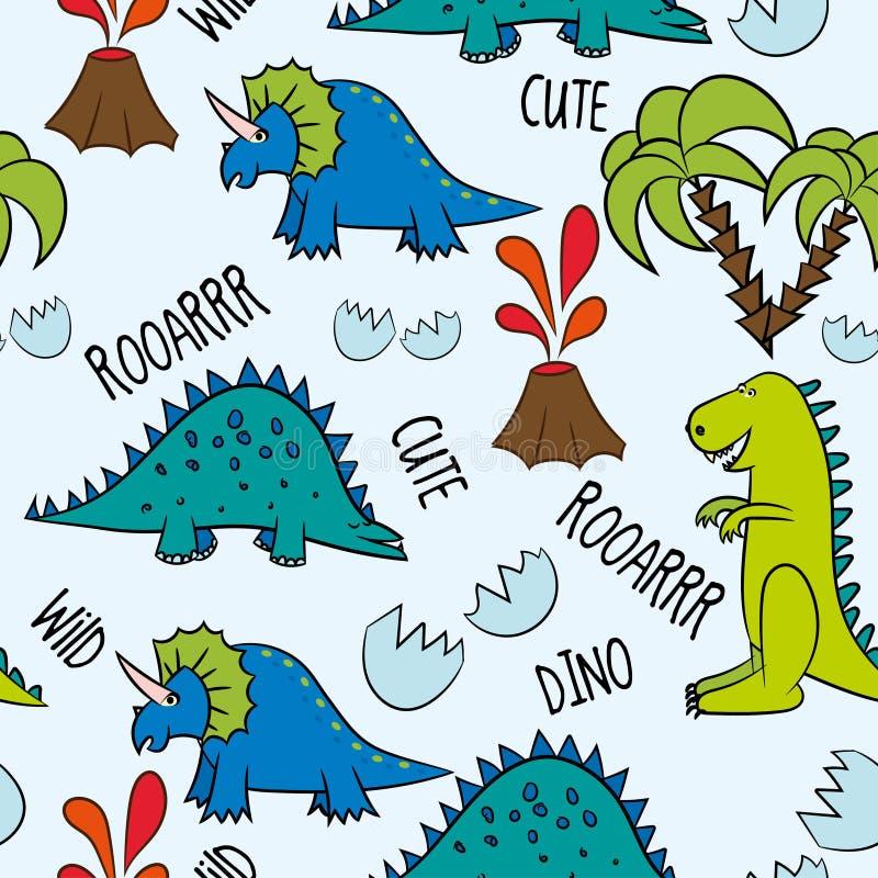Dino przyjaciele Śmieszni kreskówka dinosaury, kości i jajka, Śliczny t rex, charaktery ilustracji