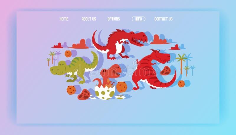 Персонаж из мультфильма dino rex тиранозавра интернет-страницы вектора динозавра и иллюстрация юрского tyrannosaur атакуя иллюстрация вектора