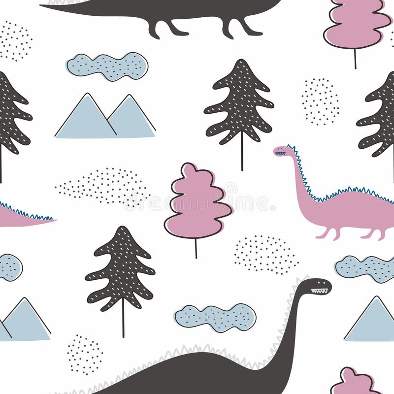 Dino seamless cute pattern for baby and kids vector illustration funny drawing scandinavian hand drawn background ready for vector illustration