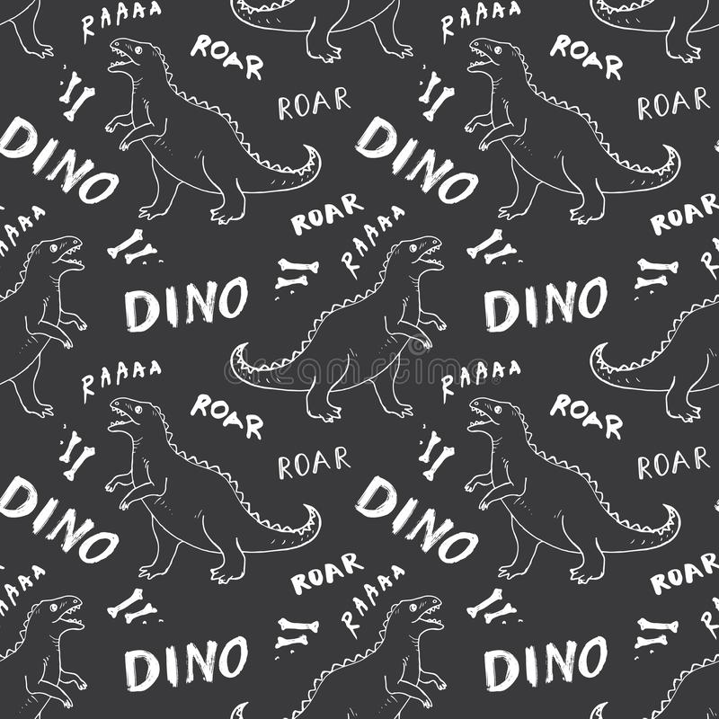 Free Dino Seamless Pattern, Cute Cartoon Hand Drawn Dinosaurs Doodles Vector Illustration Stock Images - 152923284