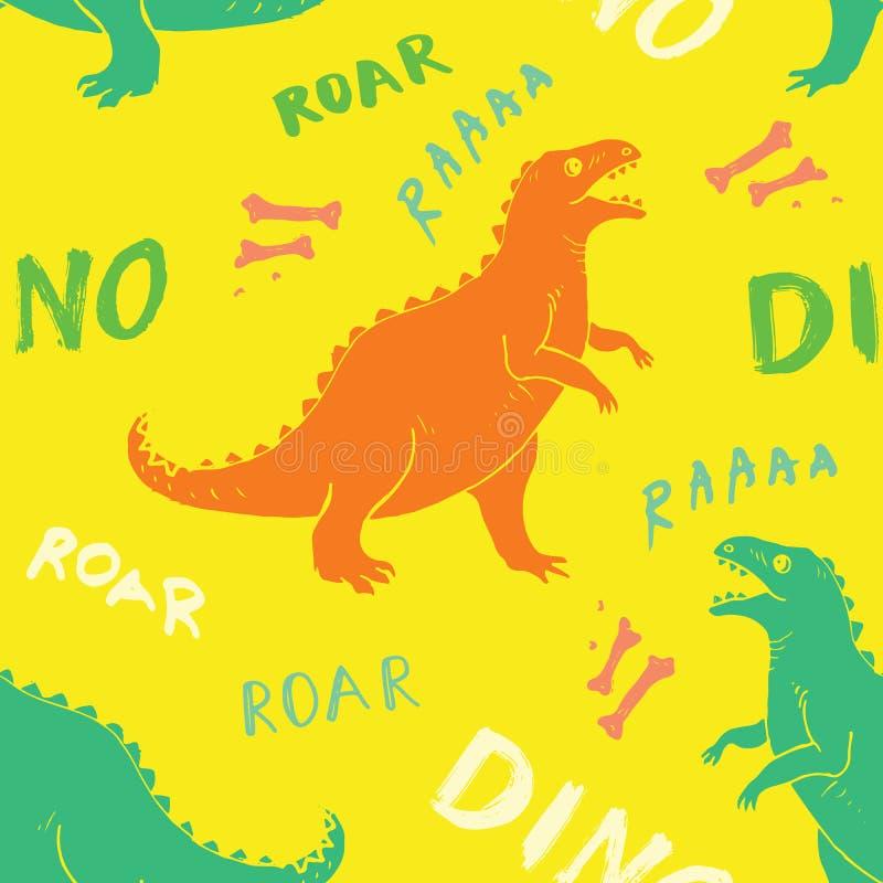 Dino Seamless Pattern, Cute Cartoon Hand Drawn Dinosaurs Doodles Vector Illustration.  royalty free illustration