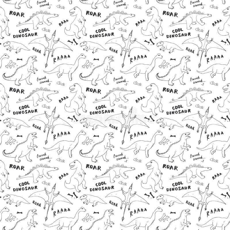Dino Seamless Pattern, Leuke de Krabbels Vectorillustratie van Beeldverhaalhand Getrokken Dinosaurussen vector illustratie