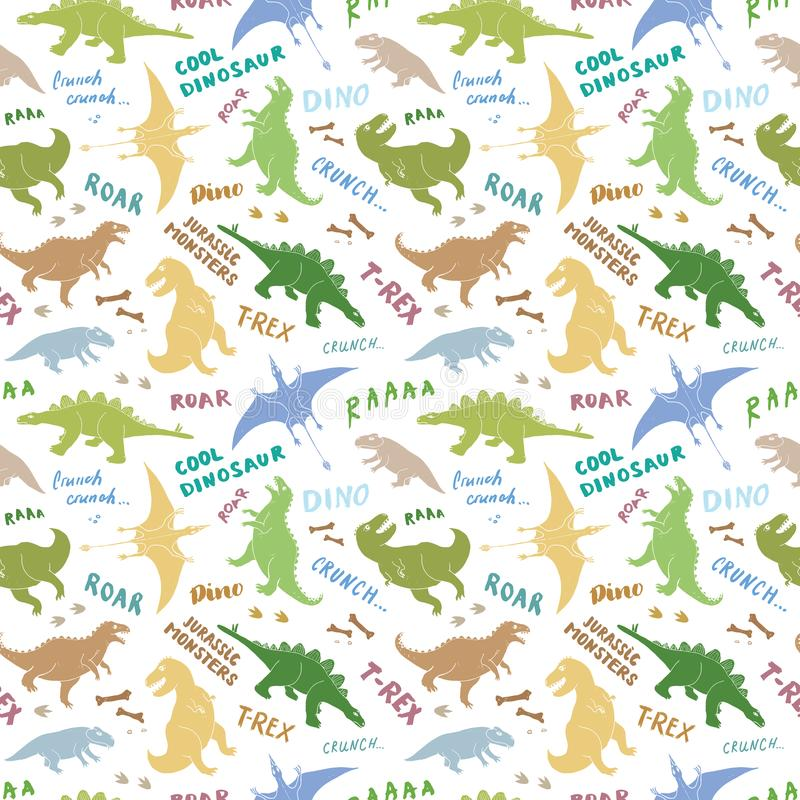 Dino Seamless Pattern, Leuke de Krabbels Vectorillustratie van Beeldverhaalhand Getrokken Dinosaurussen stock illustratie