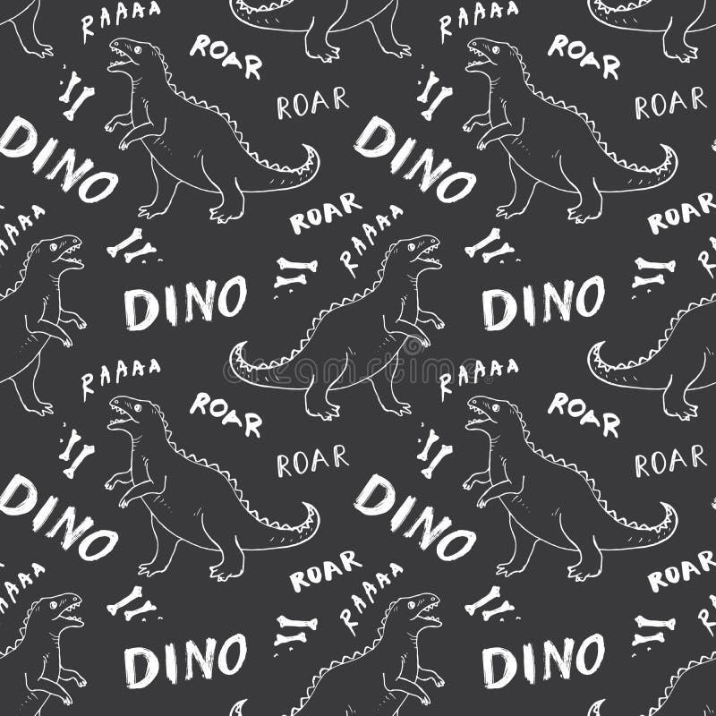Dino Seamless Pattern, Leuke de Krabbels Vectorillustratie van Beeldverhaalhand Getrokken Dinosaurussen royalty-vrije illustratie