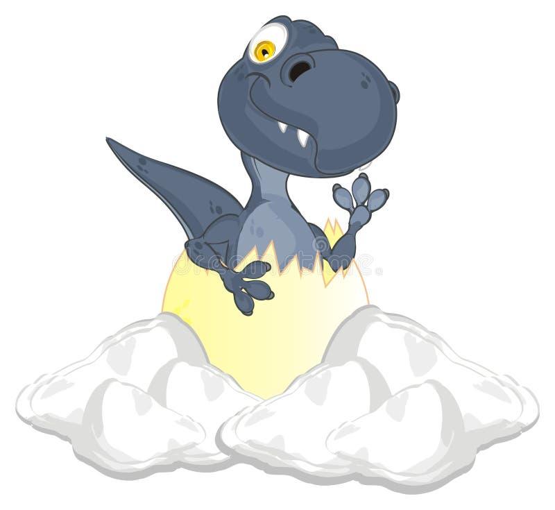Dino siedzi w śniegu ilustracja wektor