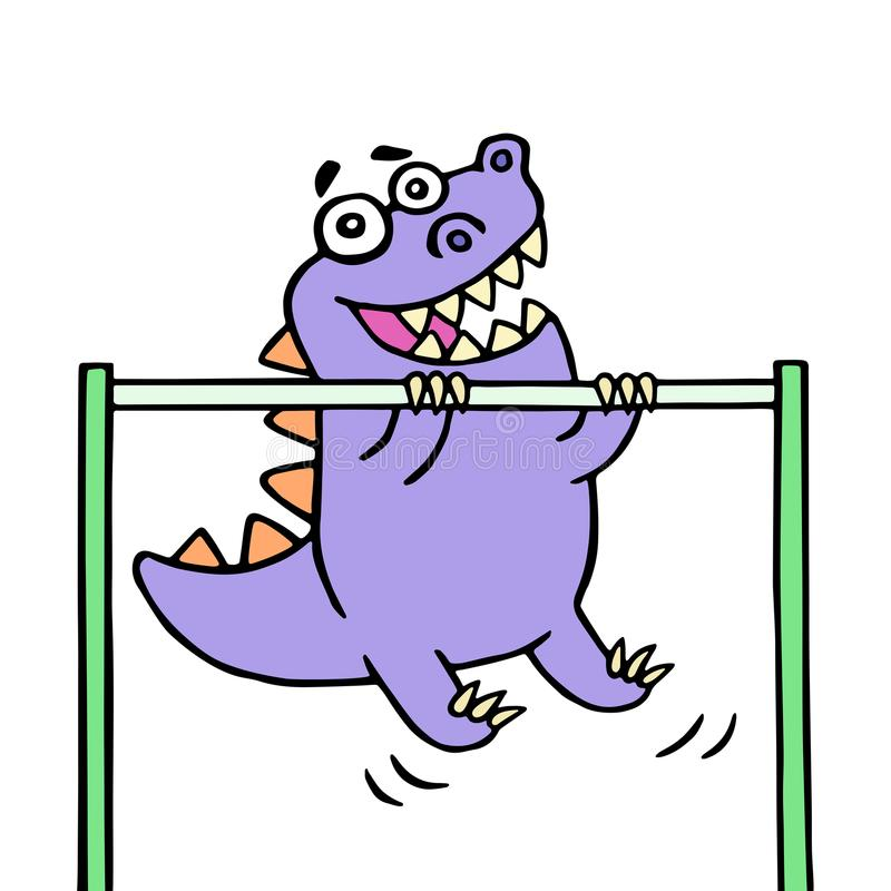 Dino stretches up on the horizontal bar on the sports ground. Vector illustration stock illustration