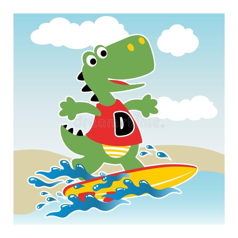 Dino surfant dans la plage illustration de vecteur