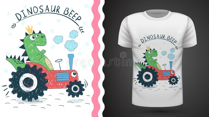 Dino with tractor - idea for print t-shirt. Hand draw vector illustration