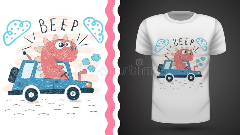 Dino with tractor - idea for print t-shirt. Vector eps 10 vector illustration