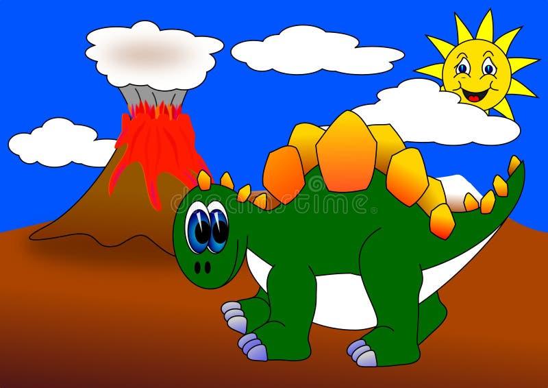 dino vulkan vektor illustrationer