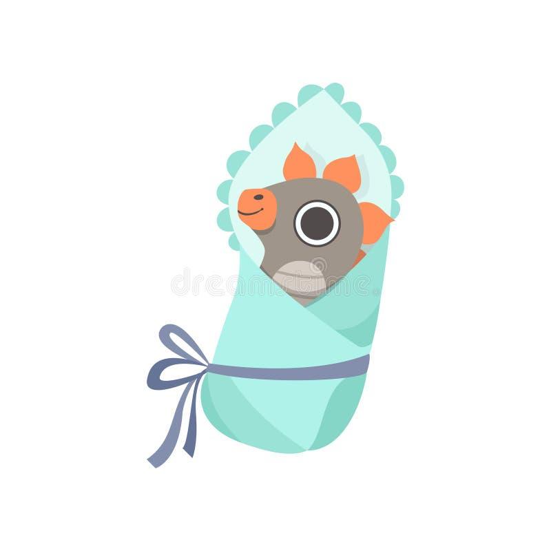 Dino Wrapped nouveau-né mignon dans la couverture, illustration adorable de vecteur de caractère de dinosaure de bébé illustration libre de droits