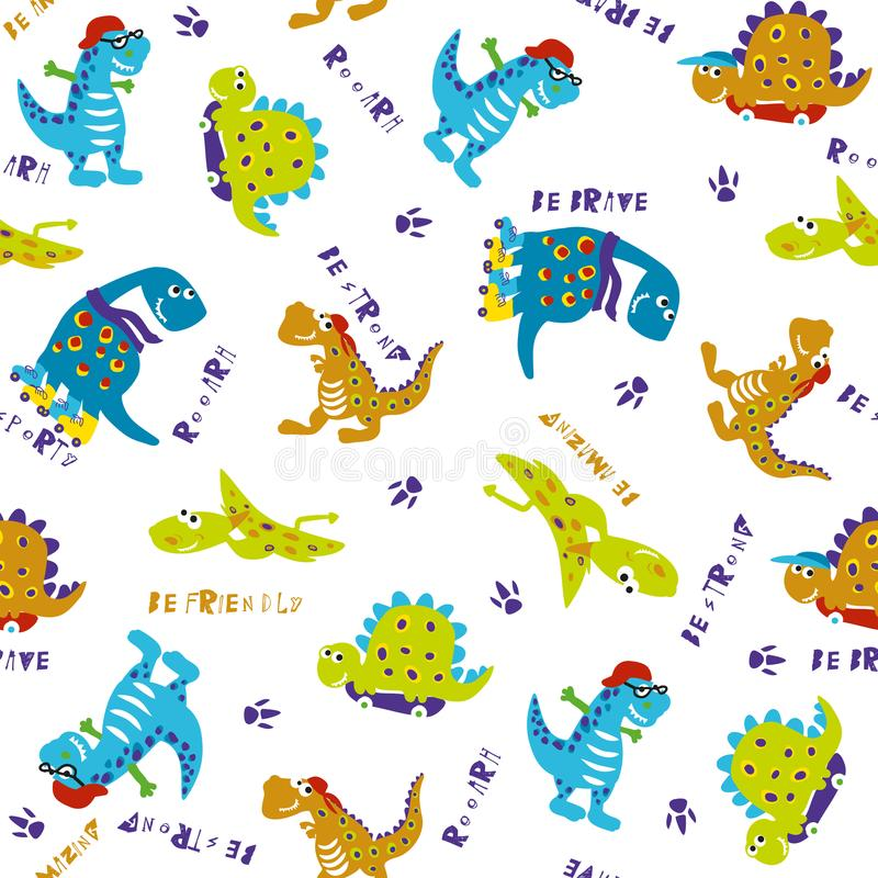 Dino wzór wektor bezszwowy wzoru royalty ilustracja