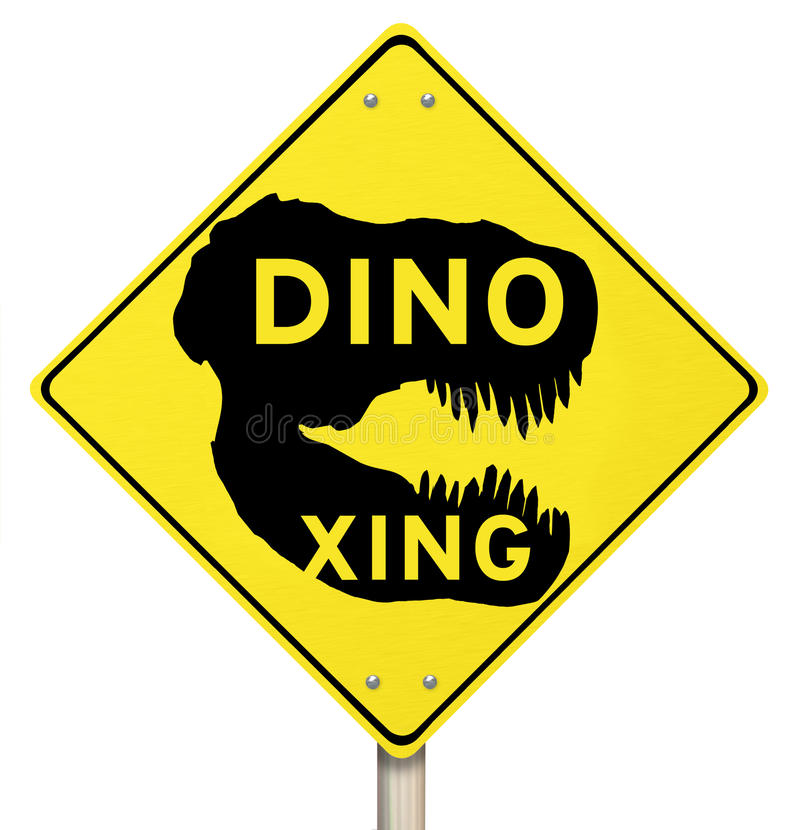 Dino Xing Dinosaur Crossing Yellow Warning-Verkeersteken stock illustratie