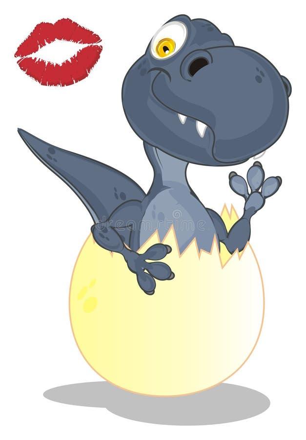 Dino y beso ilustración del vector
