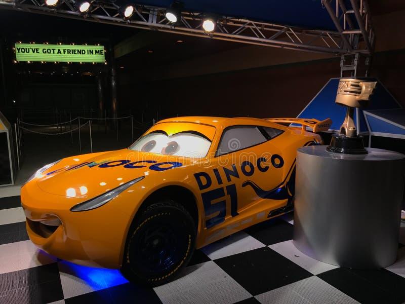 Dinoco samochód wyścigowy przy Hollywood studiami zdjęcia royalty free