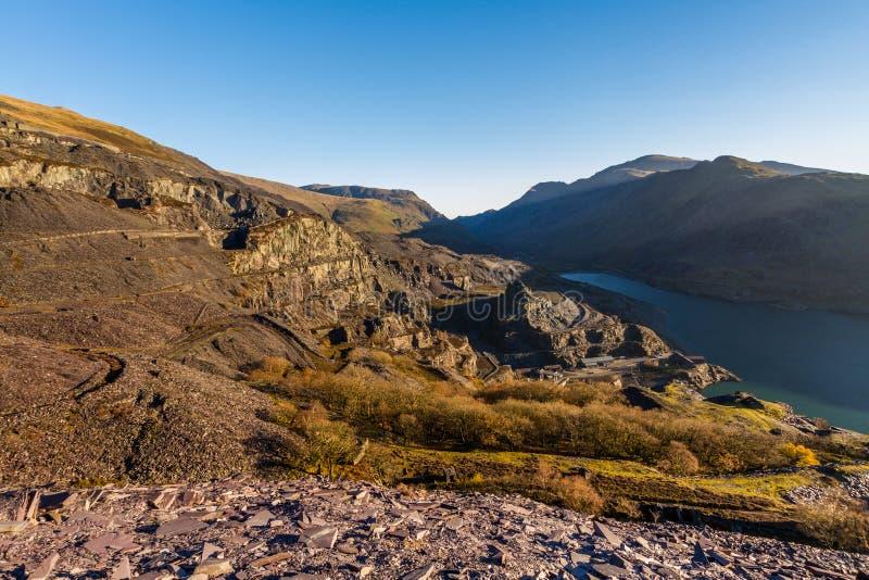 Dinorwic Łupkowy łup Snowdonia i góry, Północny Walia zdjęcie stock