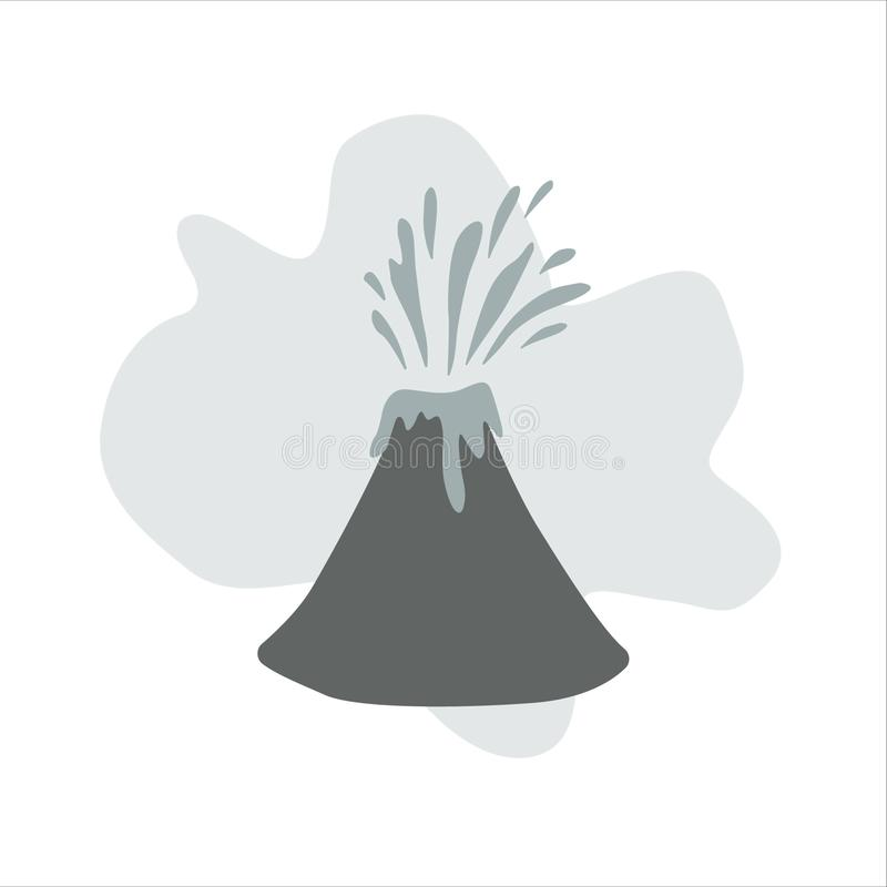 Volcano. Vector illustration in flat style. The apex of the volcano erupting lava. Volcanic activity, flat vector illustration. Isolated on white royalty free illustration